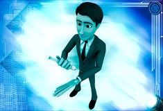 3d man giving injection to himself illustration Royalty Free Stock Photos