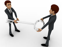 3d man giving key to another man concept Stock Photography