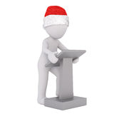 3d man giving a lecture using a lectern Royalty Free Stock Photo