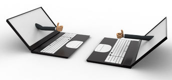 3d man giving online thumbs up through laptop concept Royalty Free Stock Photo