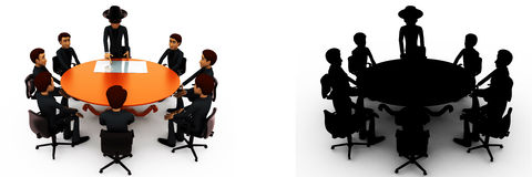 3d man giving presentation in business meeting in zorro constume concept collections with alpha and shadow channel Stock Image