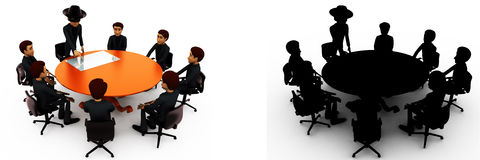 3d man giving presentation in business meeting in zorro constume concept collections with alpha and shadow channel Stock Photography