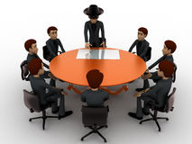 3d man giving presentation in business meeting in zorro constume concept Stock Photography