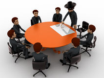 3d man giving presentation in business meeting in zorro constume concept Stock Image