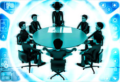 3d man giving presentation in business meeting in zorro constume illustration Stock Photos