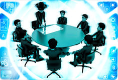3d man giving presentation in business meeting in zorro constume illustration Royalty Free Stock Photography
