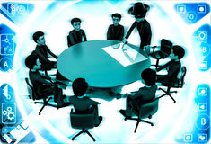 3d man giving presentation in business meeting in zorro constume illustration Stock Photography
