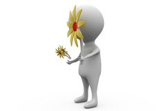 3d man giving sunflower concept Royalty Free Stock Photography