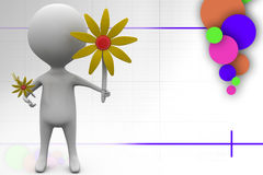 3d man giving sunflower illustration Royalty Free Stock Photo