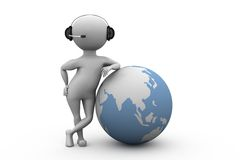 3d man global call center concept Royalty Free Stock Images