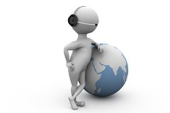 3d man global call center concept Stock Images