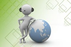 3d man global call center illustration Stock Photography