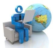 3d man - global kommunikation Arkivbilder