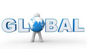 3d man global text Stock Images