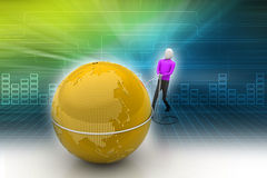 3d man with globe Stock Image