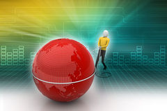 3d man with globe. In color background Royalty Free Stock Image
