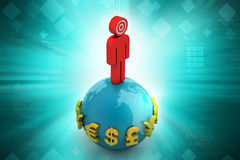 3d man with globe Royalty Free Stock Images
