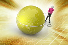 3d man with globe Royalty Free Stock Photography