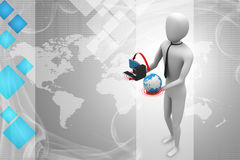 3d man with globe and computer Royalty Free Stock Images
