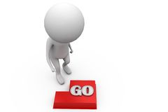 3d man go button concept Royalty Free Stock Photography
