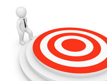 3d man go to the target. 3d rendering Stock Photography