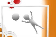 3d man goal keeper  illustration Stock Photos
