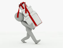 3d man goes with gift boxes on a white background Royalty Free Stock Photos