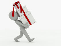 3d man goes with gift boxes on a white background Stock Photos