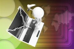 3d man going to hack securely locked laptop illustration Stock Image