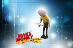 3d man with gold coin Stock Images