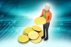 3d man with gold coins Stock Photography