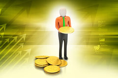 3d man with gold coins Royalty Free Stock Photos