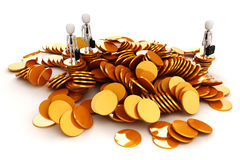 3d man and gold coins. 3d man and piles of gold coins Royalty Free Stock Photography