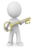 3D man with gold key Stock Photography