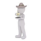 3D man with golden award. Figure of faceless 3D man with his hand to his cheek wearing old fashioned hat holding golden award cup, standing isolated on white Royalty Free Stock Images