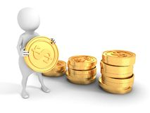 3d man with golden dollar coins in arms and stack towers Royalty Free Stock Image