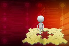 3d man golden puzzle jump illustration Royalty Free Stock Photo