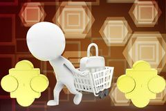 3d man golden puzzle with shopping cart illustration Royalty Free Stock Photos