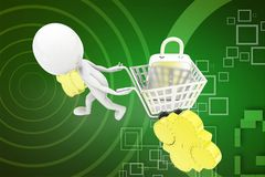 3d man golden puzzle with shopping cart illustration Royalty Free Stock Image