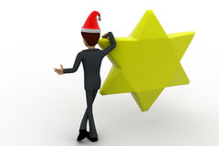 3d man with golden star and hat of santa claus concept Stock Images