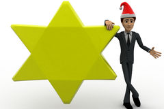3d man with golden star and hat of santa claus concept Royalty Free Stock Images