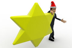 3d man with golden star and hat of santa claus concept Stock Photos