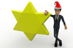 3d man with golden star and hat of santa claus concept Stock Image