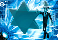 3d man with golden star and hat of santa claus illustration Royalty Free Stock Photography
