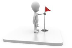 3d man golf flag concept Royalty Free Stock Photo