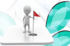 3d man golf flag illustration Stock Photo