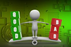 3d Man With Good and bad illustration Royalty Free Stock Photography