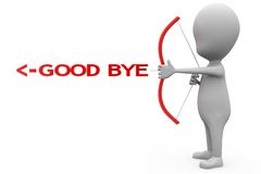 3d man good bye arrow concept Stock Photography