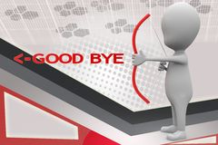 3d man good bye arrow illustration Royalty Free Stock Photography