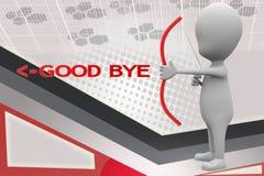 3d man good bye arrow illustration Royalty Free Stock Photography
